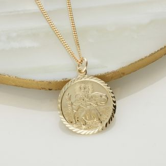 9ct Yellow Gold Diamond Cut 19mm St Christopher Pendant With Optional Engraving and Chain