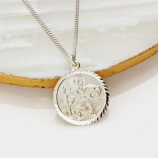 9ct White Gold Diamond Cut 19mm St Christopher Pendant With Optional Engraving and Chain