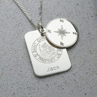 Sterling Silver Compass Concealed St. Christopher Personalised Travellers Prayer Pendant & Chain