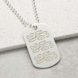 Sterling Silver English Three Lions Dog Tag With Optional Engraving & Chain