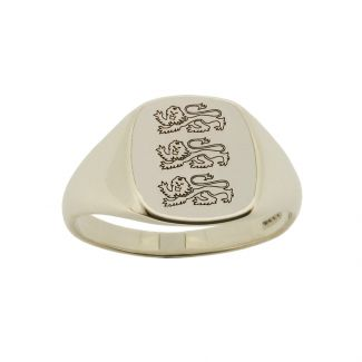 Sterling Silver Engraved Three Lions Signet Ring