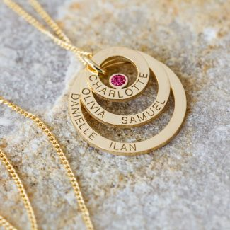 9ct Yellow Gold Plated Engraved Triple Disc Personalised Family Necklace With Ruby