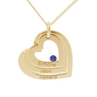 9ct Solid Yellow Gold Engraved Triple Heart Pendant With Sapphire