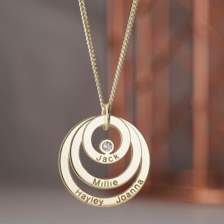 9ct Yellow Gold Plated Triple Disc Personalised Family Circle Necklace With Diamond or Crystal