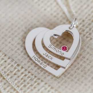 Sterling Silver Engraved Triple Heart Pendant With Ruby