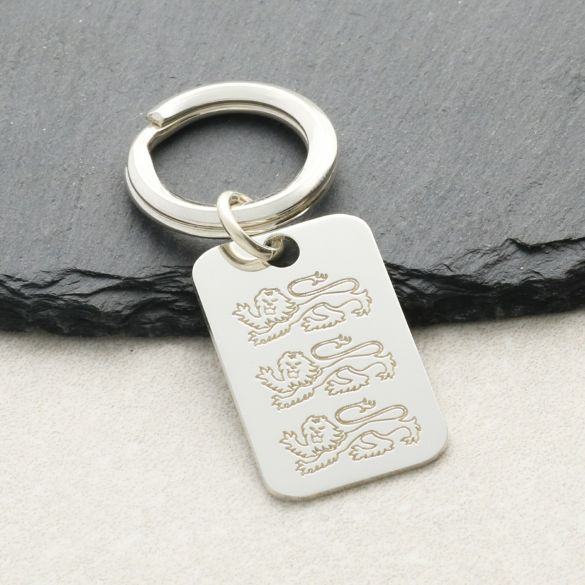 Sterling Silver Engraved Three Lions England Keyring With Optional Engraving