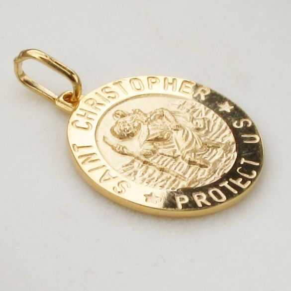 9ct Yellow Gold 15mm 3D St Christopher Pendant