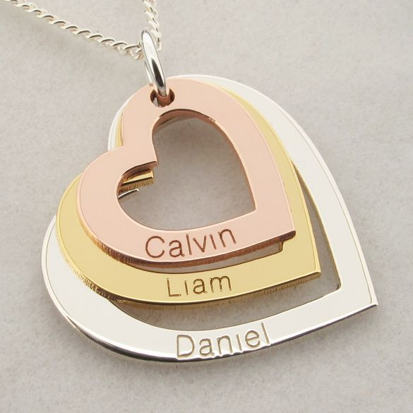 Three Colour 9ct Gold Triple Heart Personalised Family Necklace