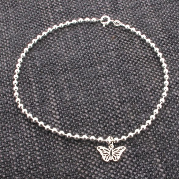 Sterling Silver Bead Ball Bracelet With Butterfly Charm