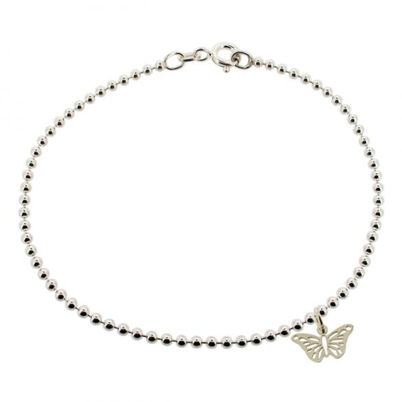Sterling Silver Bead Ball AnkletWith Butterfly Charm