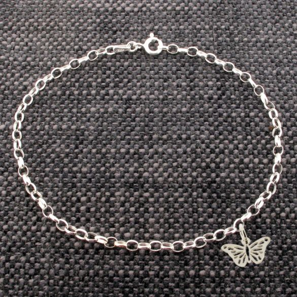 Sterling Silver Belcher Anklet With Butterfly Charm