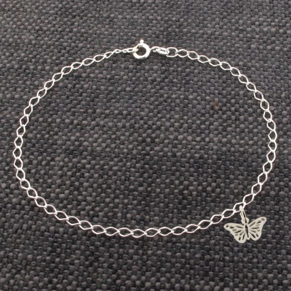 Sterling Silver Curb Anklet  With Butterfly Charm