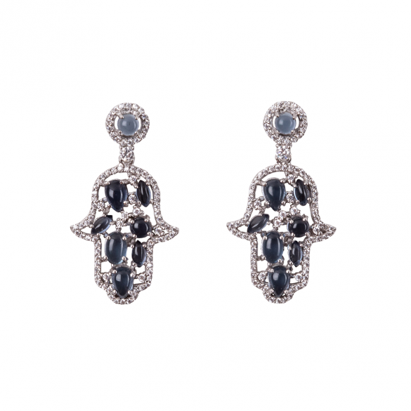 Sterling Silver Hamsa Earrings With White CZ & Blue Cabouchon Stones