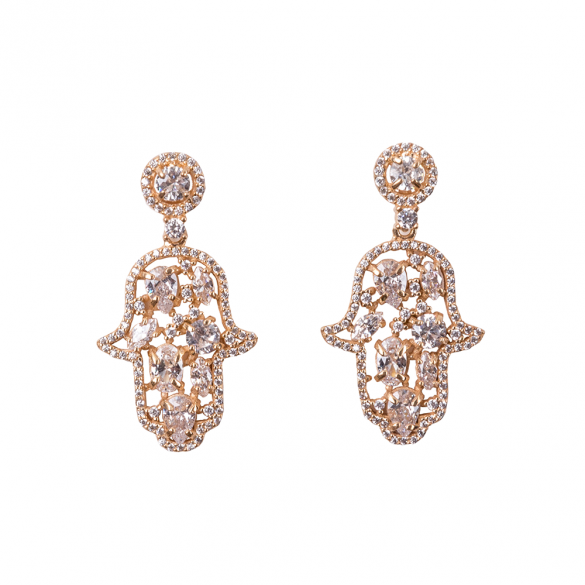 Yellow Gold Plated Hamsa Earrings With White CZ Stones