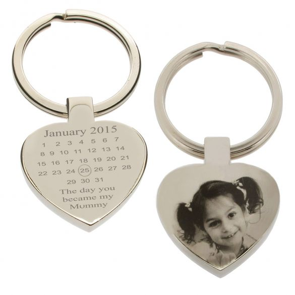 Mirror Polished Special Date Calendar & Photo Engraved Heart Keyring