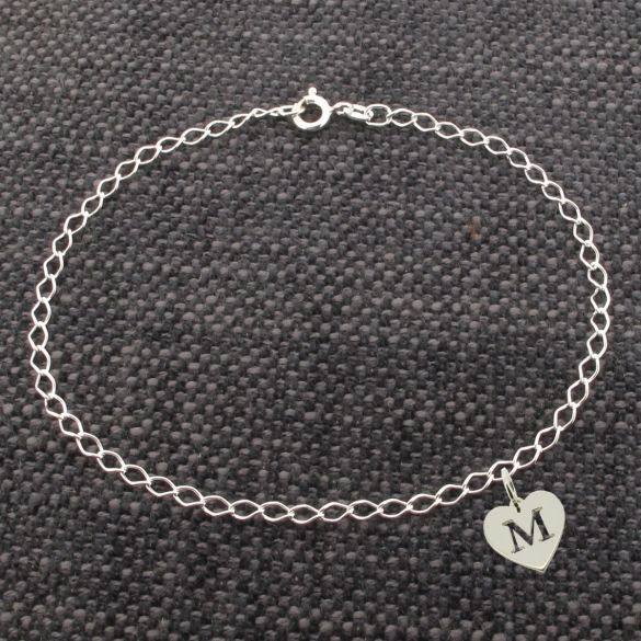 Sterling Silver Curb Bracelet With Initial Heart Charm