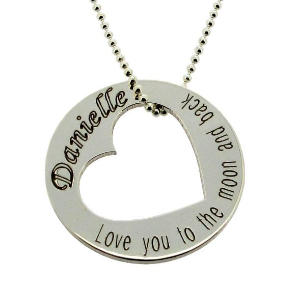 Sterling Silver Engraved Cut Out Heart Pendant
