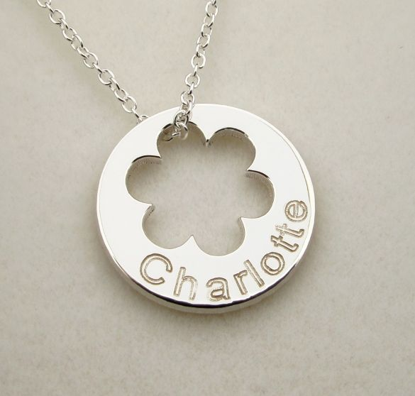 Sterling Silver Engraved Cut Out Flower Disc