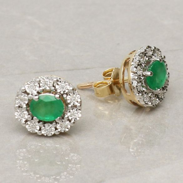 9ct Yellow Gold 0.60ct Oval Emerald & Diamond Cluster Earrings