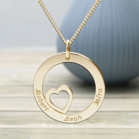 Solid Yellow Gold Heart Disc Personalised Necklace