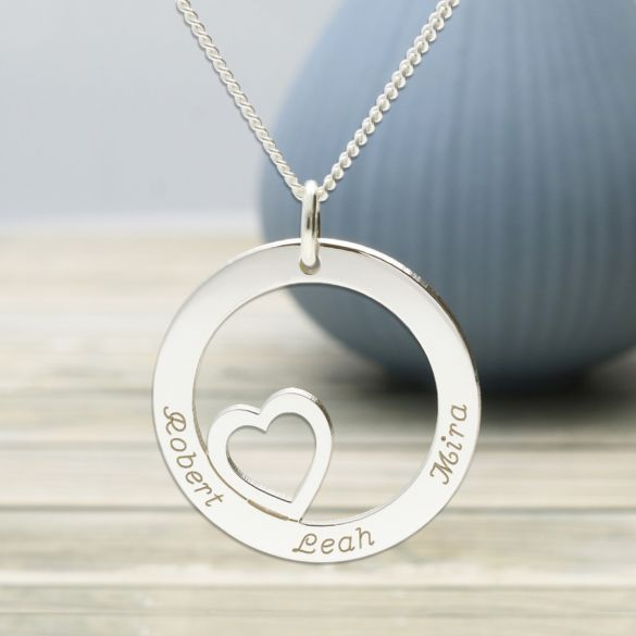 Solid White Gold Heart Disc Personalised Necklace