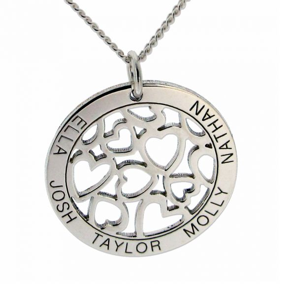 9ct White Gold Hearts in Personalised Disc Necklace