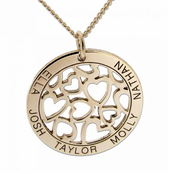 9ct Yellow Gold Hearts in Personalised Disc Necklace