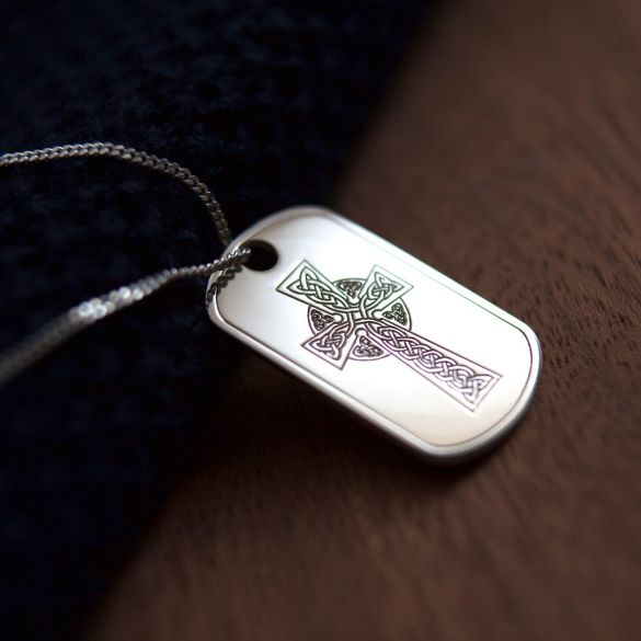 Sterling Silver Large Celtic Cross Dog Tag