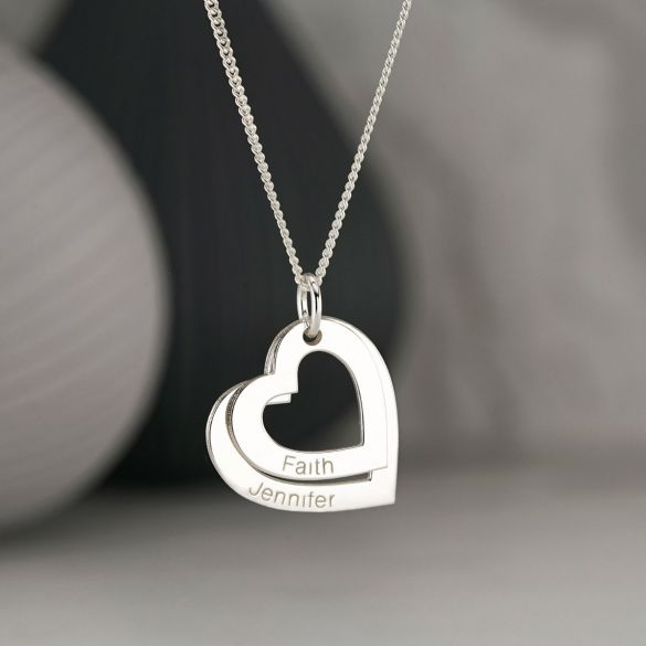 Sterling Silver Double Heart Personalised Family Necklace