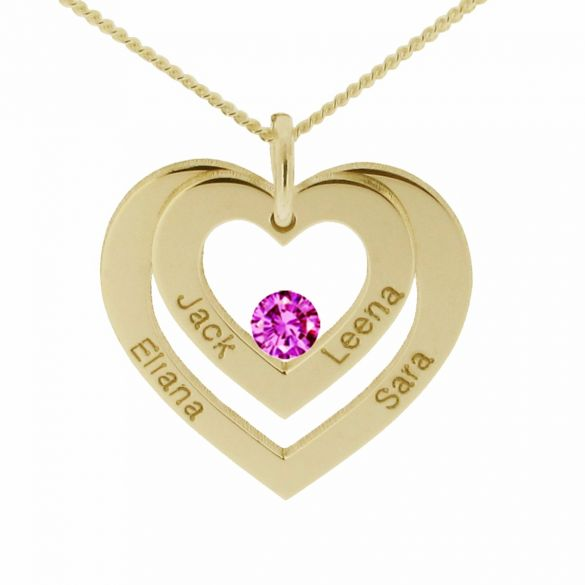 9ct Yellow Gold Double Heart Personalised Necklace With Crystal