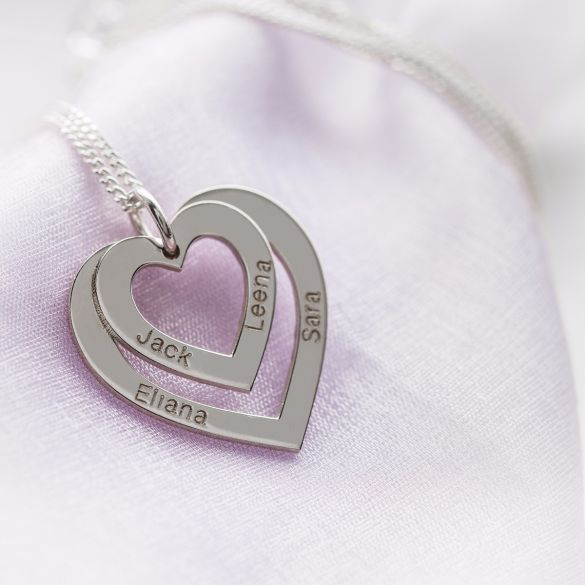 Sterling Silver Double Heart Personalised Necklace