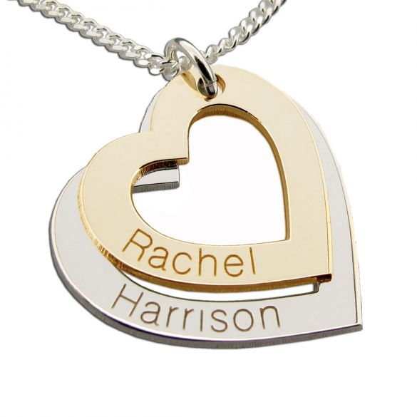 9ct  Gold Personalised Two Hearts Necklace
