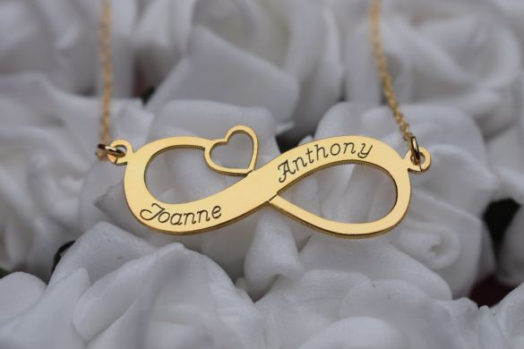 9ct Yellow Gold Infinity With Heart Necklace