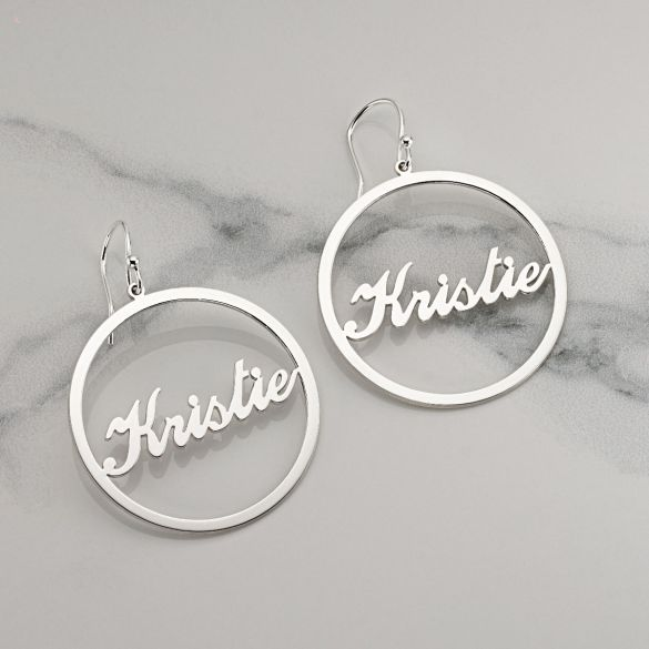 Sterling Silver Script Style Personalised Earrings