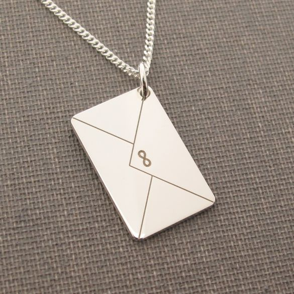 Sterling Silver Engraved Envelope Pendant