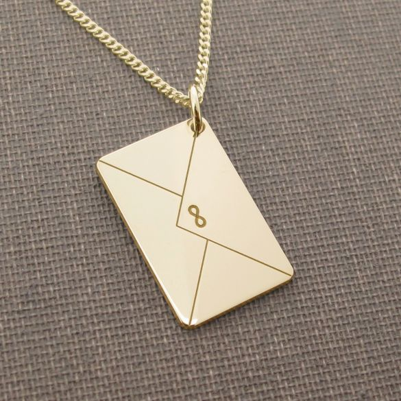 9ct Yellow Gold Plated Engraved Envelope Pendant