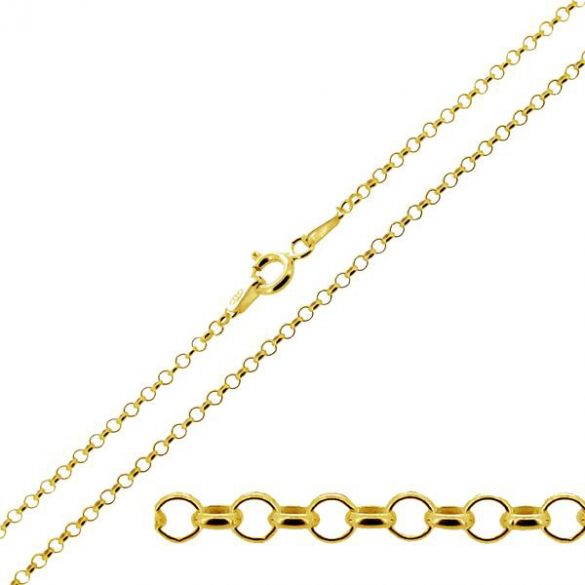 9ct Yellow Gold Plated on Sterling Silver 2mm Belcher Chain