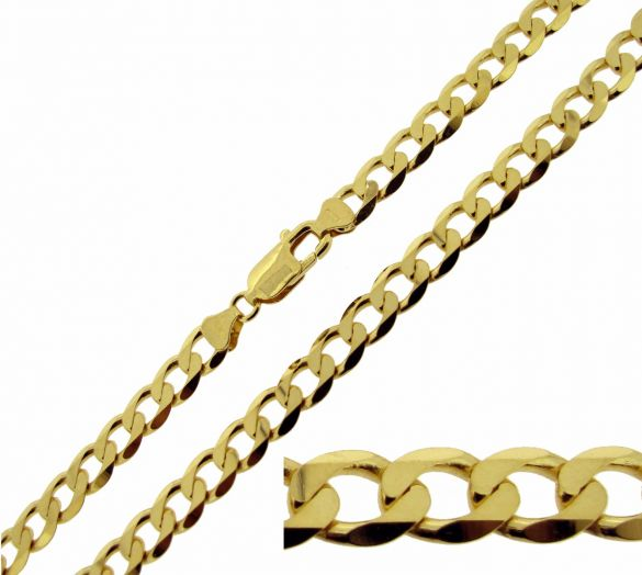 9ct Yellow Gold Plated Mens Flat Diamond Cut Curb Link Bracelet
