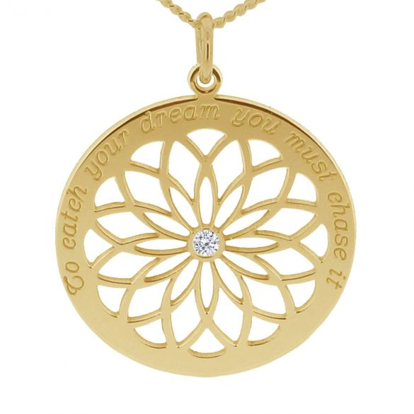 9ct Yellow Gold Dream Catcher Necklace With Crystal