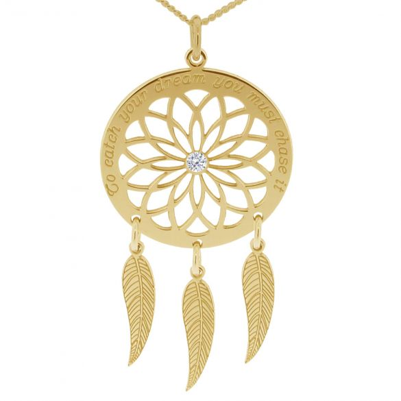 9ct Yellow Gold Dream Catcher and Feathers Necklace With Crystal
