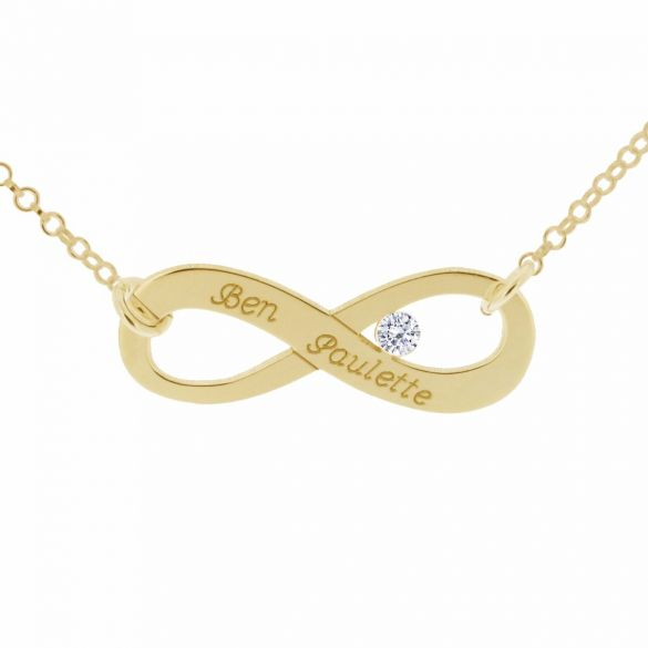 9ct Yellow Gold Infinity Necklace With CZ Crystal