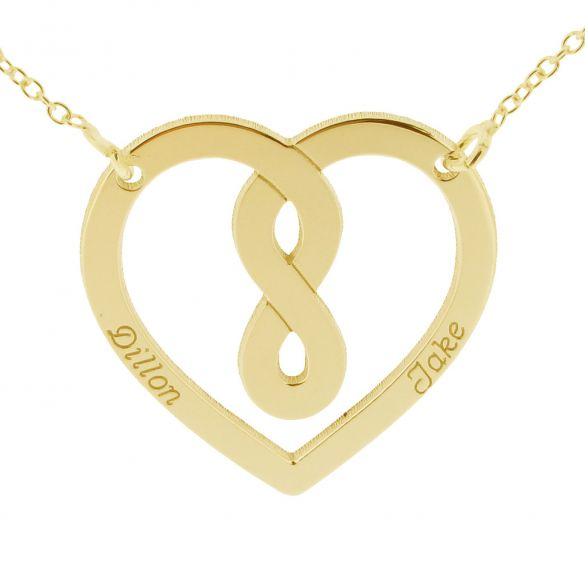9ct Yellow Gold Heart Infinity Necklace