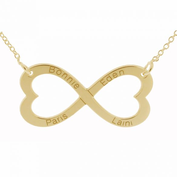 9ct Yellow Gold Infinity Heart Necklace