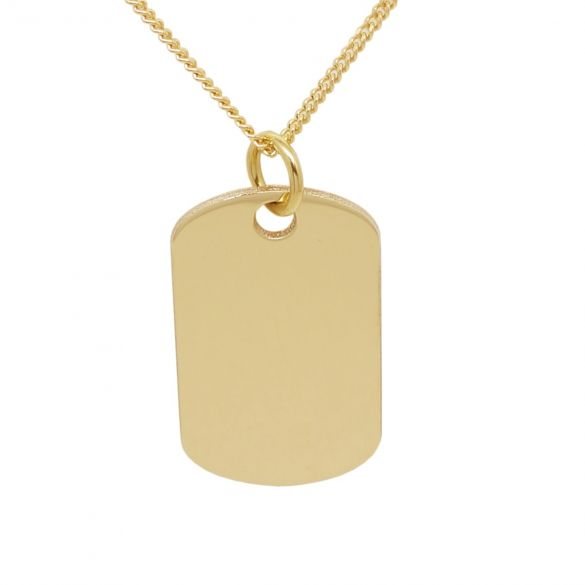 9ct Yellow Gold Dog Tag With Optional Engraving