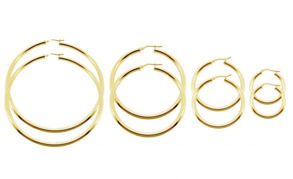 9ct Yellow Gold Plated  3mm Hoop Sleeper Earrings