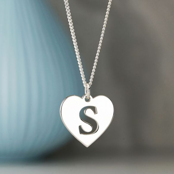 9ct White Gold Initial Heart Pendant
