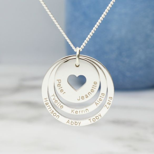 9ct White Gold Two Disc Cut Out Heart Personalised Family Necklace