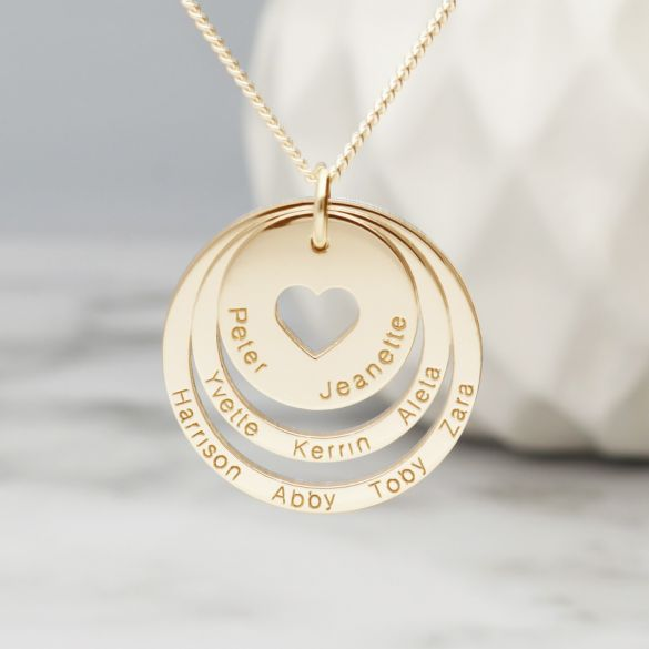 9ct Yellow Gold Two Disc Cut Out Heart Personalised Family Necklace
