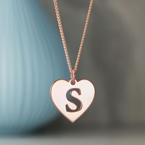 9ct Rose Gold Plated Initial Heart Pendant