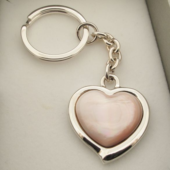Sterling Silver Pink Shell Heart Keyring With Optional Engraving